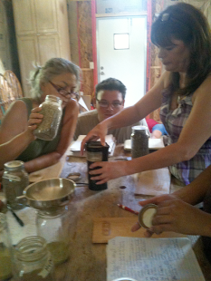 grinding the herbs in a coffee grinder