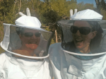 Kaila and Victoria posing in their bee suits