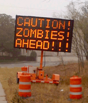 caution zombies ahead road sign